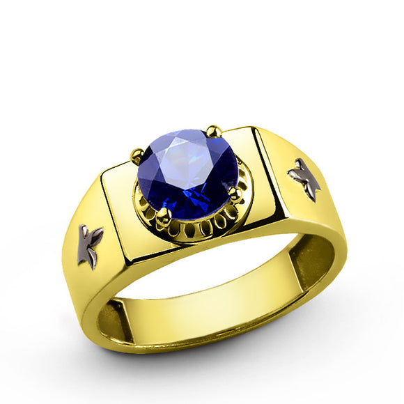 Men's Gold Ring with Blue Sapphire Gemstone, 10k Solid Gold Ring for Men - J  F  M