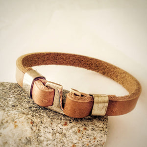 Men's Bracelet Natural Leather with 925 Sterling Silver Clasp, Brown Leather Bracelet for Men - J  F  M