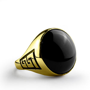 10k Yellow Solid Gold Men's Ring with Natural Black Onyx Stone - J  F  M