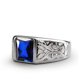 Mens Ring with Blue SAPPHIRE in 925k SOLID Sterling Silver