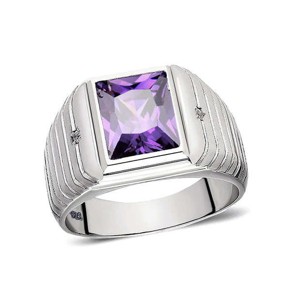 Real 925 Solid Sterling Silver Mens Purple Amethyst Ring with 2 Diamonds All Sz