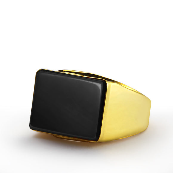 Onyx Ring for Men in 14k Yellow Gold, Men's Statement Ring - J  F  M