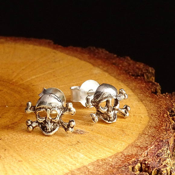 Solid 925 Sterling Silver Skull and Crossbones Men's Stud Earrings