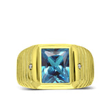 Solid 10K Gold Blue Topaz Mens Ring 0.04ct Natural Diamonds Fine Ring for Man