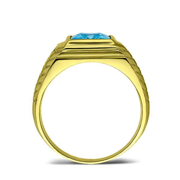 Mens Solid 18K Gold Blue Topaz Gemstone Ring 2 Natural Diamond Accents All Sz