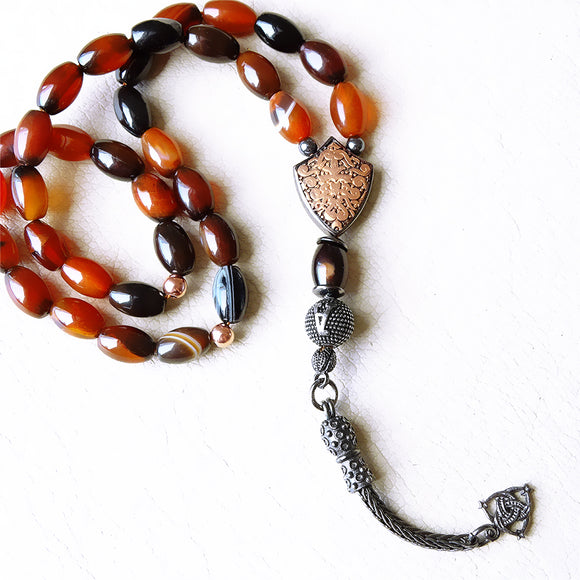 Muslim Rosary Oval Agate Tasbih with 925 SILVER Initial Personalized Tasbeeh Islamic Prayer Beads