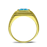 18K Gold Plated on 925 Real Solid Silver Mens Blue Topaz 2 Diamond Accents Ring