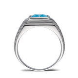 Rectangular Blue Topaz 925 Solid Sterling Silver Ring for Men with 2 Diamonds