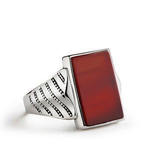 Men's Ring Natural Red Agate in 925 Sterling Silver, Men's Ring with Stone - J  F  M