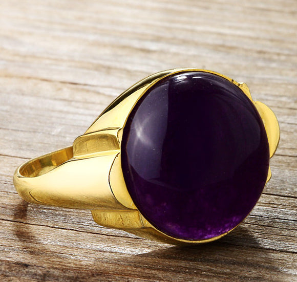 Men's Ring in 14k Yellow Gold with Natural Purple Agate Stone - J  F  M