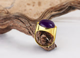 10k Yellow Gold Men's Statement Ring with Natural Purple Agate Stone - J  F  M