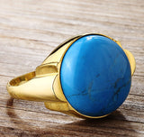 Men's Ring in 14k Yellow Gold with Natural Blue Turquoise Stone - J  F  M