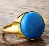 Men's Statement Ring in 10k Yellow Gold with Natural Blue Turquoise Stone - J  F  M