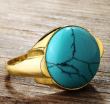 Men's Ring in 10k Yellow Gold with Natural Blue Turquoise Stone, Statement Ring - J  F  M