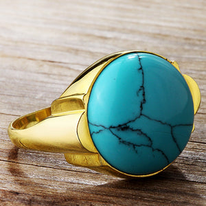 Men's Ring with Natural Blue Turquoise Stone in 14k Yellow Gold - J  F  M