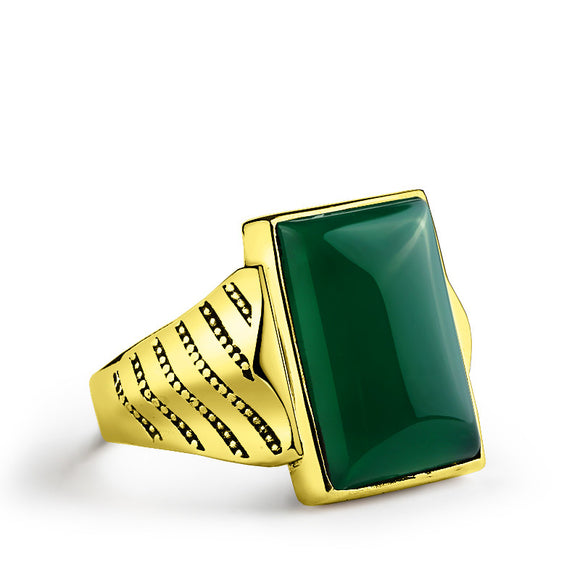 Men's Ring with Green Agate Gemstone in 14k Yellow Gold - J  F  M