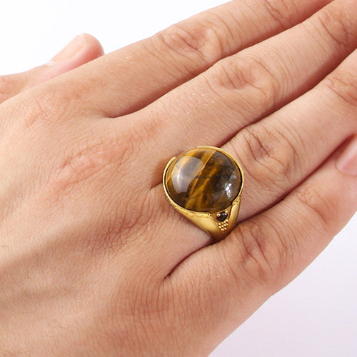 Men's Ring with Brown Tiger's Eye Stone in 14k Yellow Gold - J  F  M