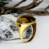 10k Yellow Solid Gold Men's Ring with Brown Tiger's Eye Stone - J  F  M