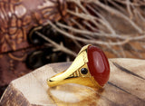 Men's Agate Ring in 10k Yellow Gold, Natural Red Stone Ring - J  F  M