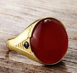 Men's Ring with Red Agate in 14k Yellow Gold - J  F  M