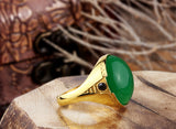 Men's Ring in 10k Yellow Gold with Green Agate Natural Stone, Statement Ring - J  F  M