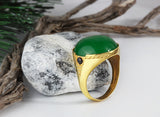 Men's Ring in 14k Yellow Gold with Green Agate Natural Sone - J  F  M