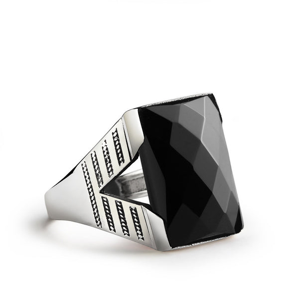 Black Onyx Men's Ring 925 Sterling Silver, Natural Black Stone Ring for Men - J  F  M