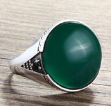 Men's Silver Ring with Green Agate and Black Onyx Accents - J  F  M