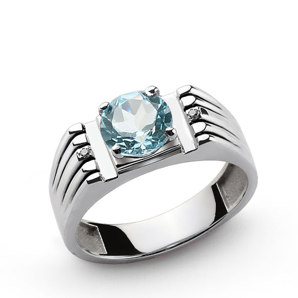 925 Sterling Silver Men's Ring with Blue Topaz and Natural Diamonds - J  F  M