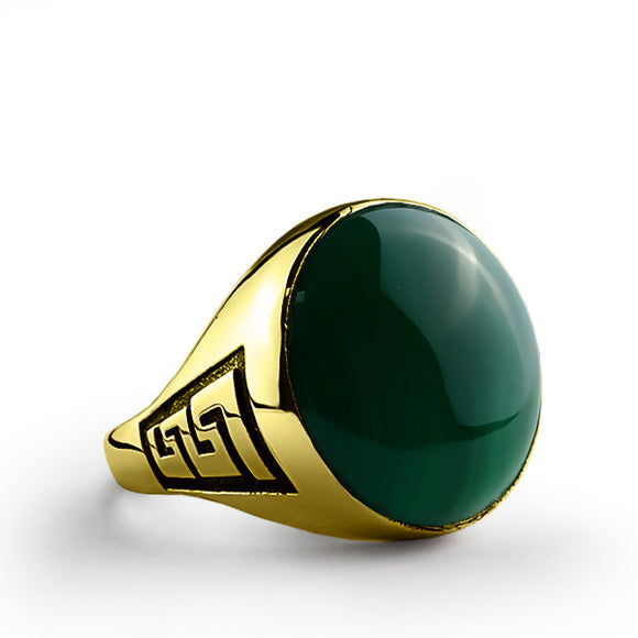 Men's Ring with Green Agate Stone in 10k Yellow Gold - J  F  M