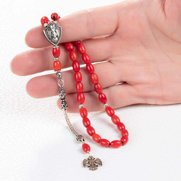 Red Coral Tasbih with Silver Double-Headed Eagle Muslim Rosary Islamic Ramadan Gift