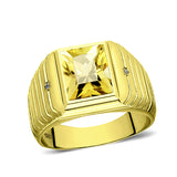18K Gold Plated on 925 Solid Silver 2 Diamonds Mens Yellow Citrine Ring All Sz