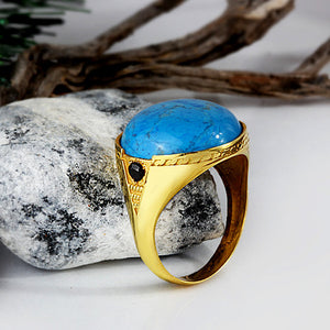 Men's Ring with Blue Turquoise in 14k Yellow Gold - J  F  M