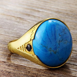 Men's Ring with Blue Turquoise Natural Gemstone in 10k Yellow Gold - J  F  M