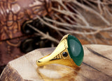 Men's Agate Ring in 10k Yellow Gold, Men's Statement Ring - J  F  M