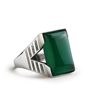Men's Ring Sterling Silver with Green Agate Natural Gemstone - J  F  M