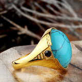 14k Yellow Solid Gold Men's Ring with Blue Turquoise Natural Stone - J  F  M