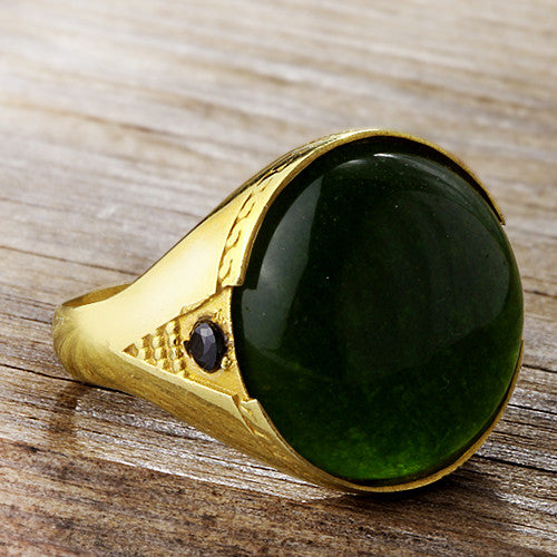 Men's Ring with Green Agate in 10k Yellow Gold, Statement Ring for Men - J  F  M