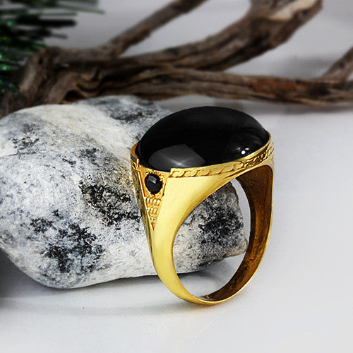 Men's Ring Black Onyx in 10k Yellow Gold, Statement Ring for Men - J  F  M