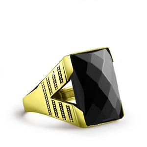 Men's Statement Ring in 10k Yellow Gold with Natural Black Onyx Stone - J  F  M