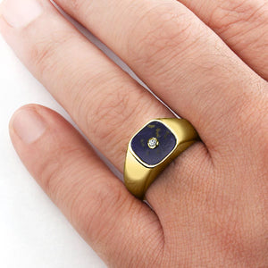 10K Gold Men's Diamond Ring with Natural Lapis Gemstone - J  F  M