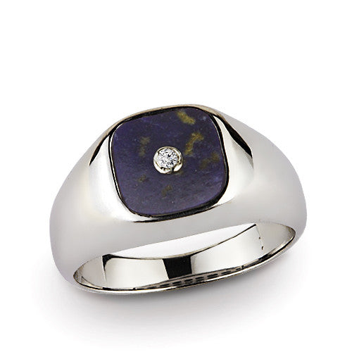 Men's Diamond Ring with Natural Blue Lapis Gemstone in Sterling Silver - J  F  M