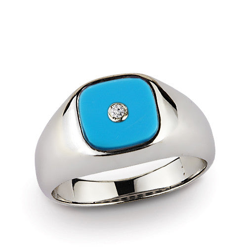 Sterling Silver Men's Ring with Natural Diamond and Blue Turquoise Gemstone - J  F  M