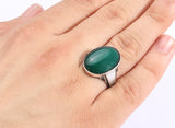Sterling Silver Men's Ring with Green Agate Natural Gemstone - J  F  M