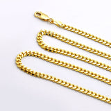 "18k Yellow Gold Plated Sterling Silver Chain Necklace, Cuban Curb Chain 18"" to 24"" - J  F  M"