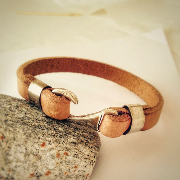 Men's Leather Bracelet with 925 Sterling Silver Hook Clasp, Brown Leather Bracelet for Men - J  F  M