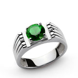 Sterling Silver Men's Ring with Green Emerald and Genuine Diamonds - J  F  M