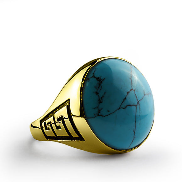 14k Yellow Gold Men's Ring with Natural Blue Turquoise Stone - J  F  M