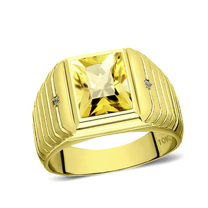 Solid 10K Gold Yellow Citrine Mens Ring 2 Natural Diamonds on Fine Ring for Men