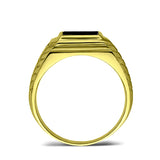 18K Gold Plated on 925 Solid Silver Mens Black Onyx Ring With 2 Diamond Accents